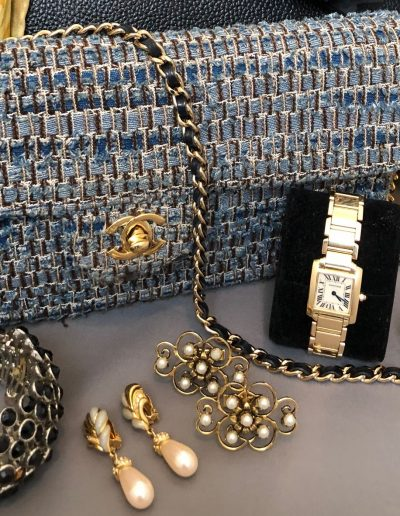 CHANEL TWEED CARTIER & VINTAGE EARRINGS