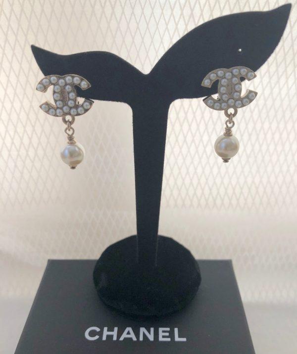 Chanel CC pearl drop clip on earrings