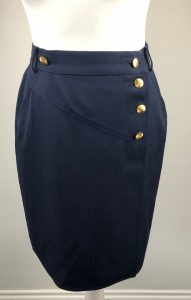 Chanel Vintage Navy Blue Pencil Skirt with CC Gold Buttons
