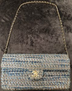CHANEL Timeless Blue Tweed Handbag