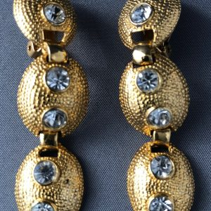 Classic Clip On Earrings With Three Drop & Faux Diamonds