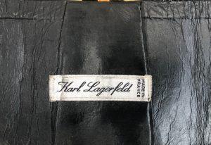 Karl Lagerfeld Corset Waist Black Leather Buckle Belt