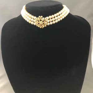 Triple Strand Vintage Pearls Necklace with a Flower Centrepiece With Rhinestones