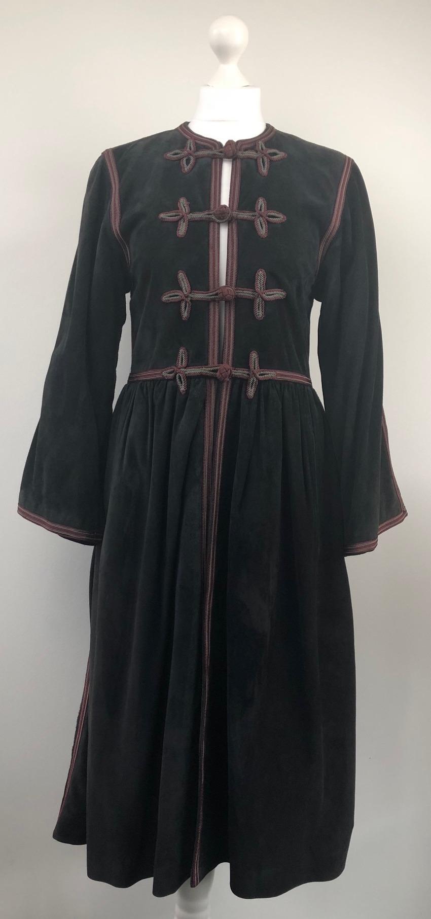 b0686d174cd 1976 Yves-Saint Laurent Cossack Black Dark Grey Suede Coat – Russian Ballet