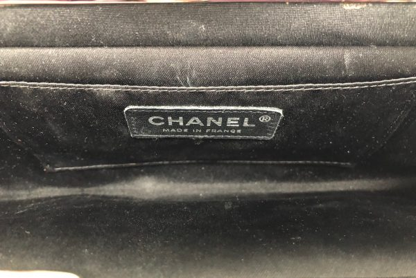 CHANEL Black Quilted Satin Clutch Bag Jade Clasp