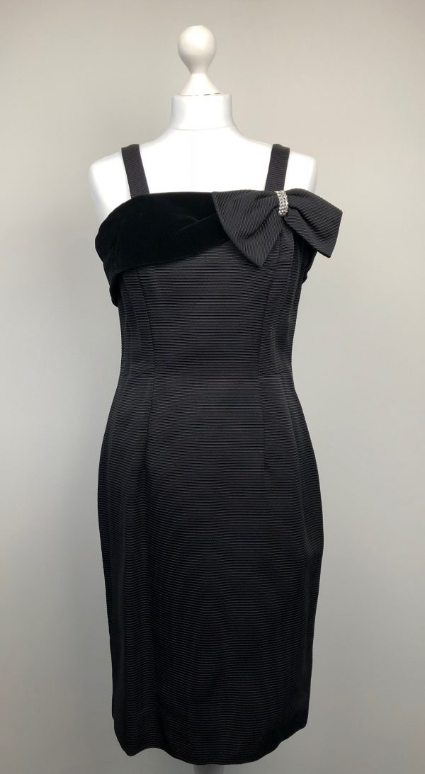 Timeless black evening cocktail dress with bow and rhinestones