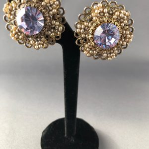 Vintage Amethyst Flower Clip on Earrings Cannetille work & Faux Pearls