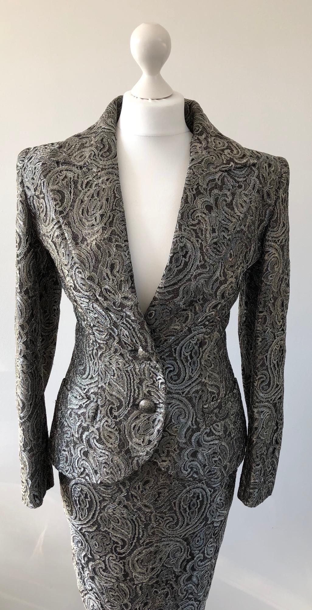 ae2ca82199 JEAN-LOUIS SCHERRER Amazing Silver Brocade Evening Jacket Skirt Suit