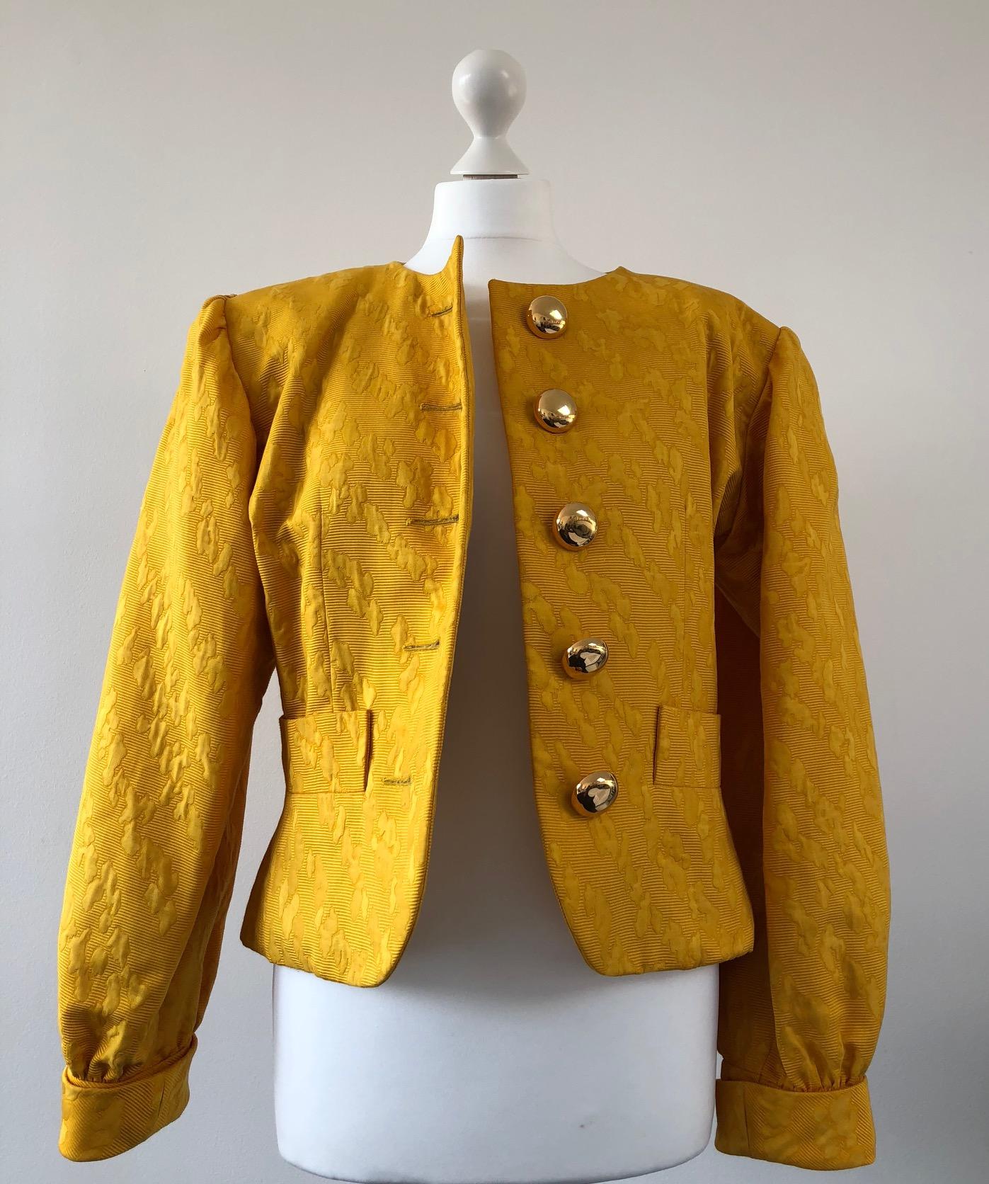 Ysl Yves Saint Laurent Yellow Goldish Luxury Damask Jacket