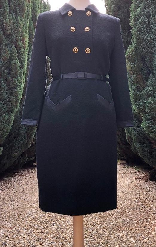 Louis Feraud Vintage 1980s Black Sheath Dress Satin Belt