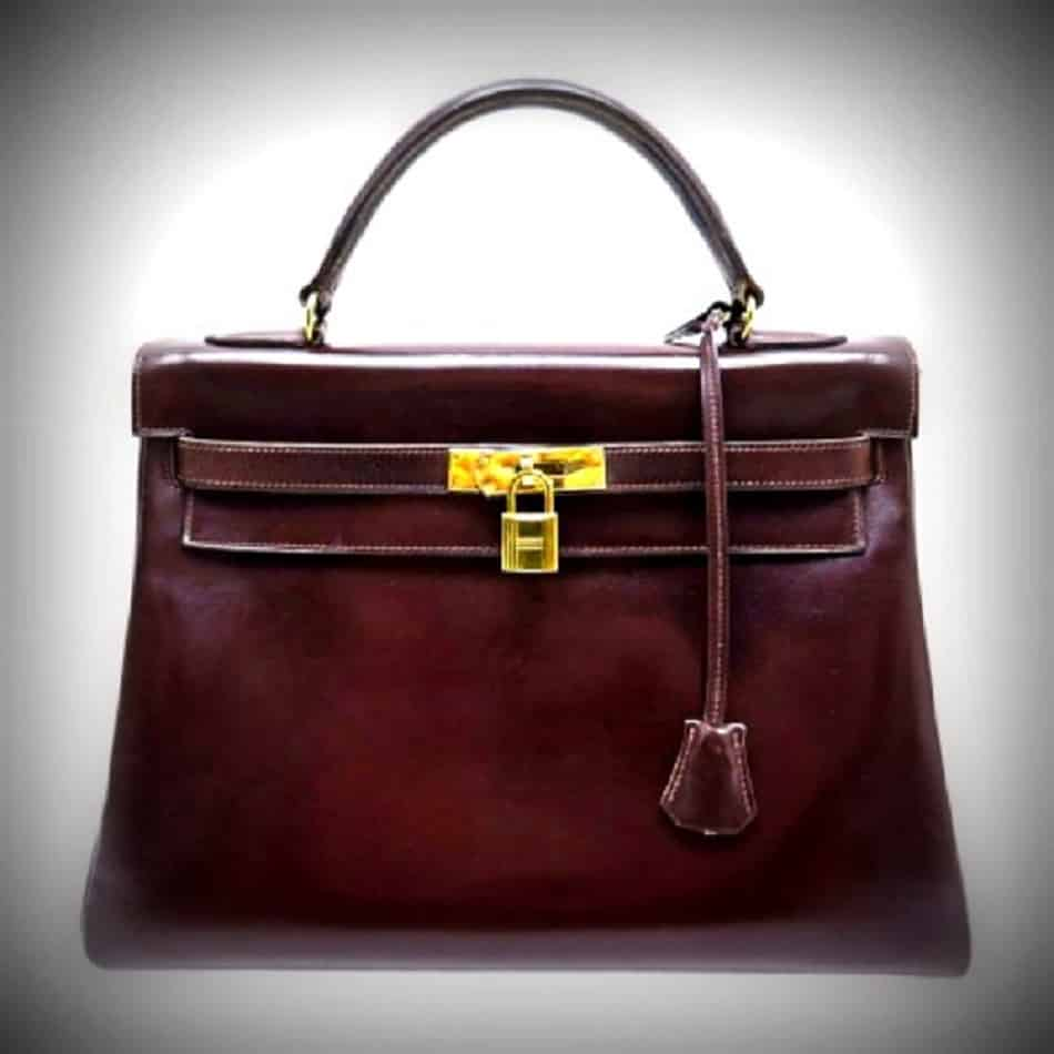 Hermes Kelly Handbag Brown Box Calf with Gold Hardware 32