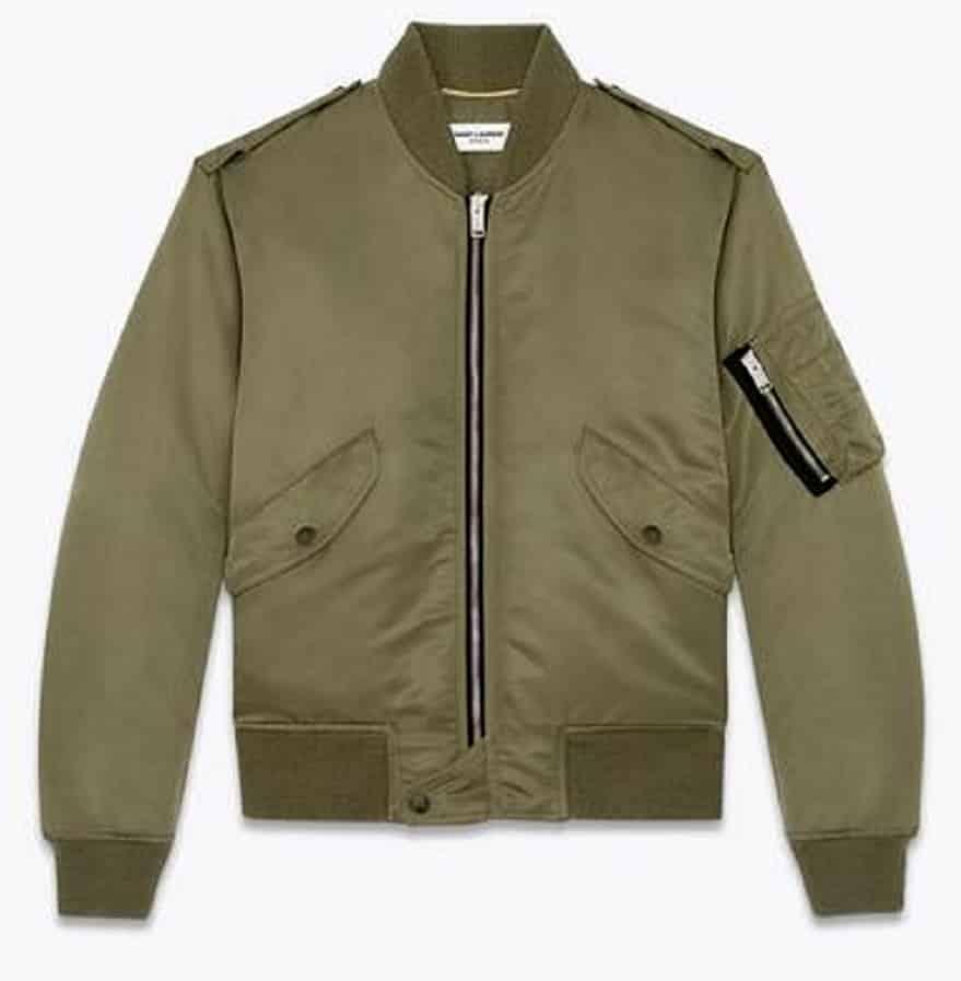 6693de96ebd SAINT LAURENT Bomber Jacket In Kaki Nylon - Chelsea Vintage Couture