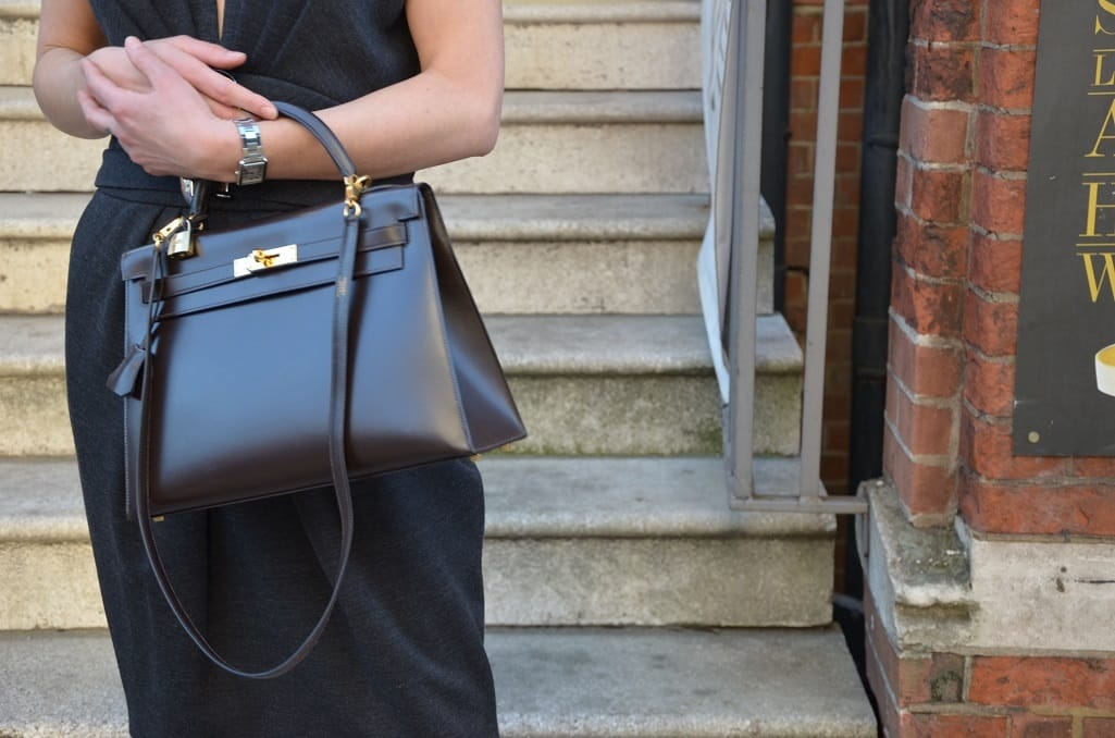 444300ab95 HERMES Kelly 32 Dark Brown Box Calf Leather Gold Hardware Excellent  Condition - Chelsea Vintage Couture