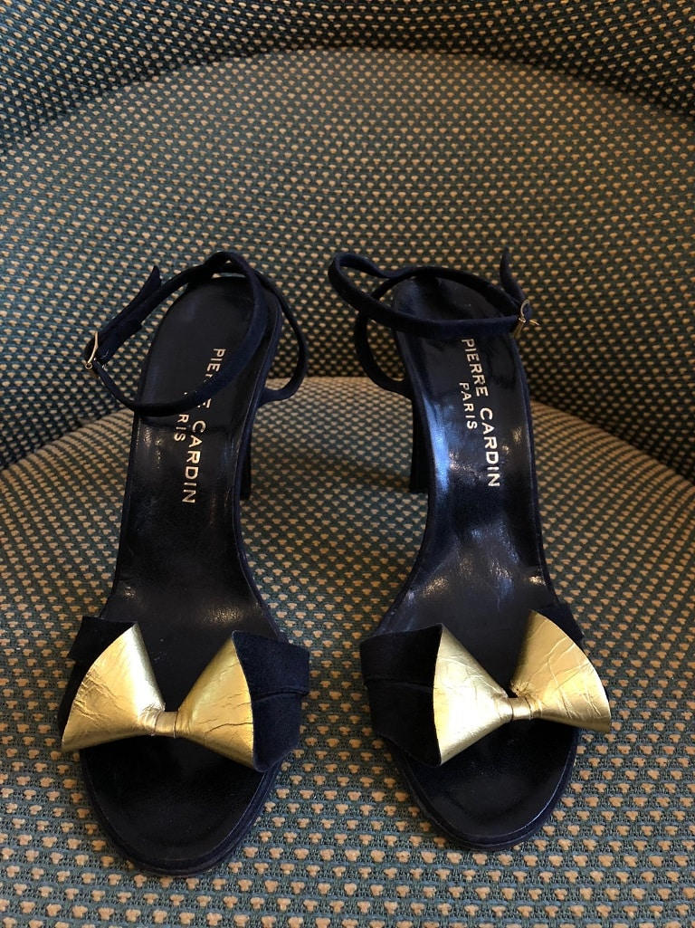 PIERRE CARDIN Leather Heels Sandals Gold Lily - Chelsea Vintage Couture e9ca5088685ed