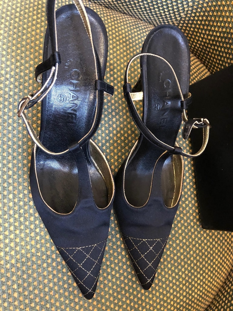 408906cf11b Chanel Slingback High Heels Shoes Satin CC Logo - Chelsea Vintage ...