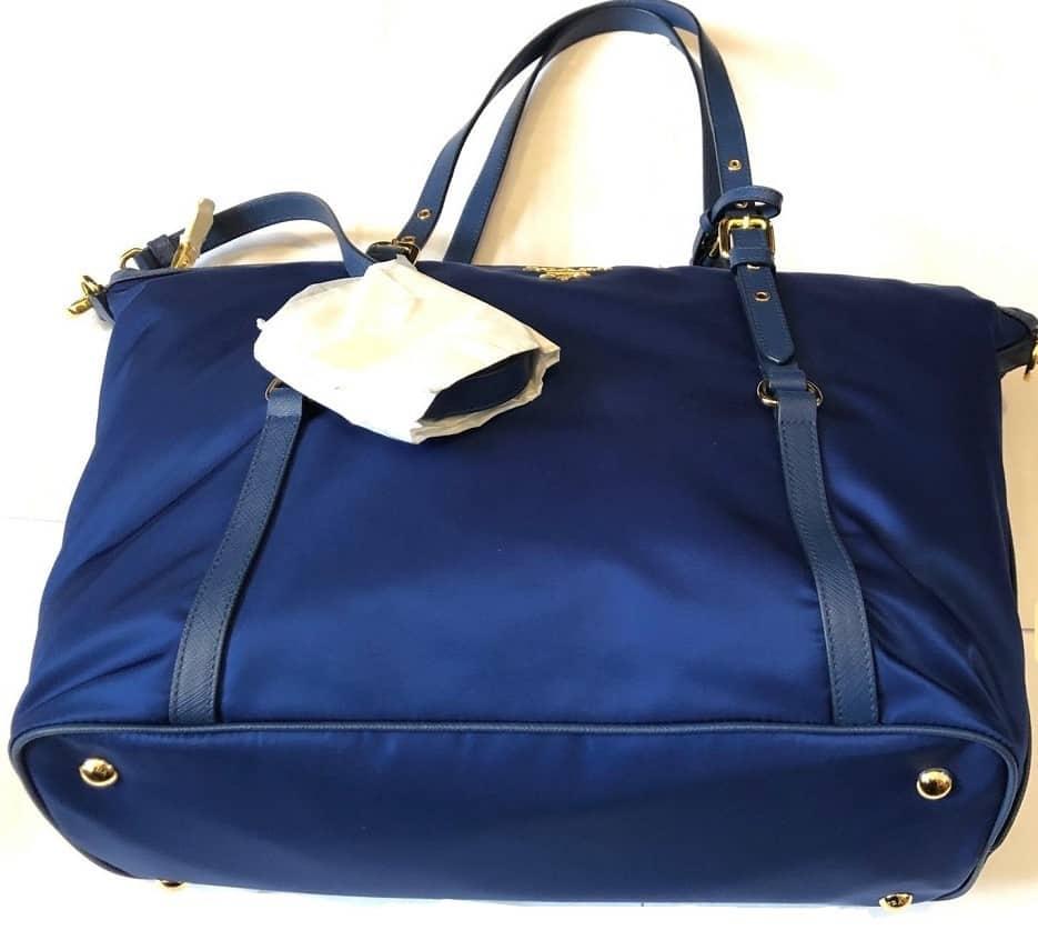 a529dd9e511d PRADA Tote Bag Tessuto Nylon Saffian Leather Trim Royal Blue PRISTINE  CONDITION