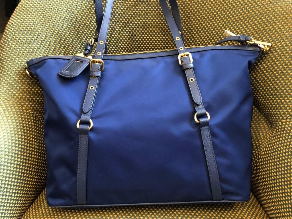 61423d7facf4 PRADA Tote Bag Tessuto Nylon Saffian Leather Trim Royal Blue PRISTINE  CONDITION