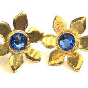 d25b20acb48 YVES SAINT-LAURENT Flower Blue Cabochon Earrings Vintage 1980's