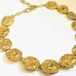 4b288fe75ee YVES SAINT-LAURENT Necklace Antique Coins Vintage 1980's