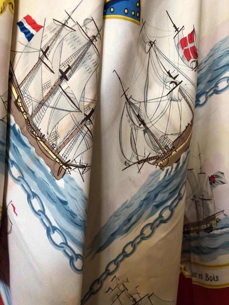 7b112f00d0b98 HERMÈS La Marine en Bois by Hugo Grygkar Red Nautical Ship Trident Silk  Scarf Circa 1957