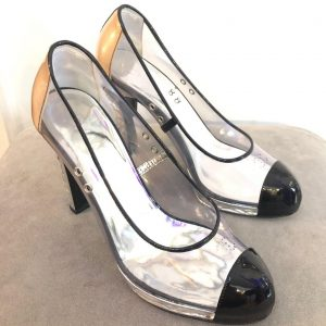 f72fd8b51d3364 CHANEL Shoes CC PVC Clear Black Patent Leather Toe Platform High Heels