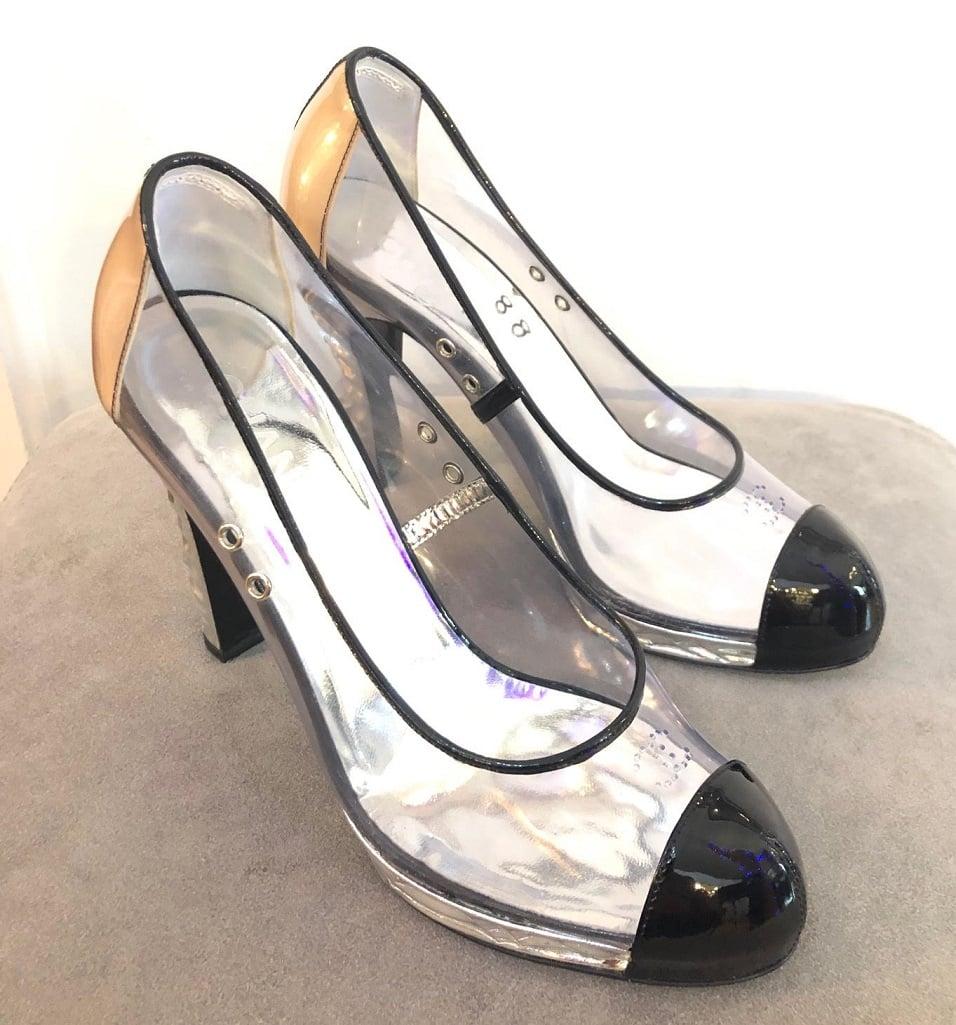CHANEL Shoes CC PVC Clear Black Patent