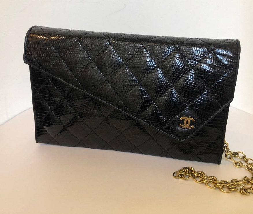373998071 Chanel Black Lizard Leather Gold Chain 2 in 1 Clutch Flap Evening ...