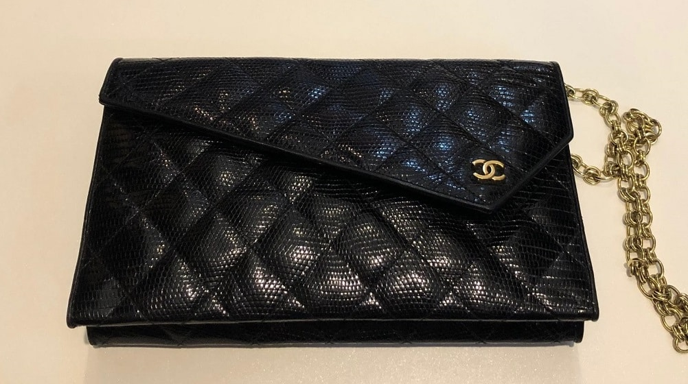 choose clearance select for latest wide selection Chanel Black Lizard Leather Gold Chain 2 in 1 Clutch Flap Evening Shoulder  Bag - Chelsea Vintage Couture