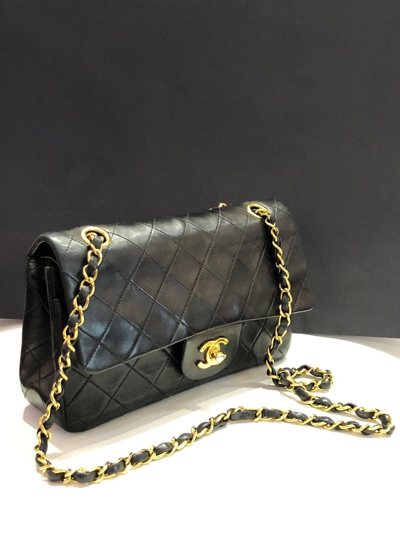 Chanel Vintage Classic Double Flap Bag Quilted Lambskin Medium Black Chelsea Couture