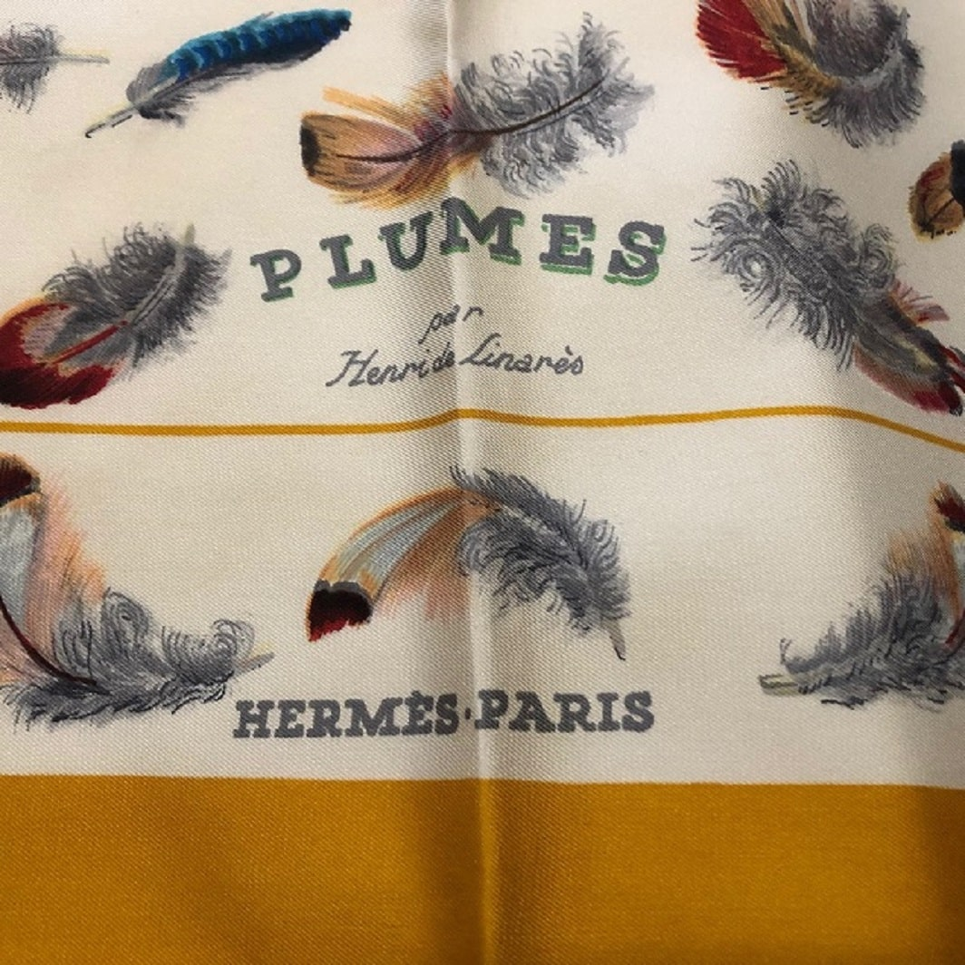 Hermès Plumes By Henri de Linarès Feathers Print Silk Carré Scarf with Box 1 (3)